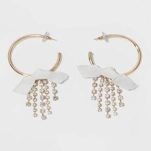 🎄 Baublebar Crystal Gold Tone Hoop Earrings Bows